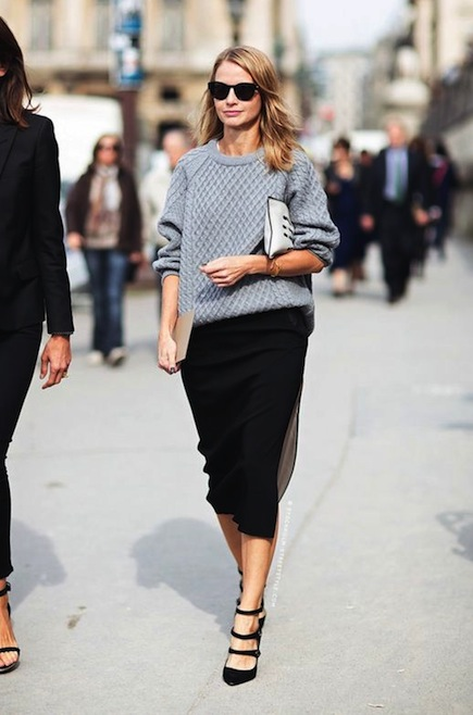 Grey Sweater Black Pencl Skirt