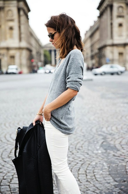 Grey Sweater White Jeans