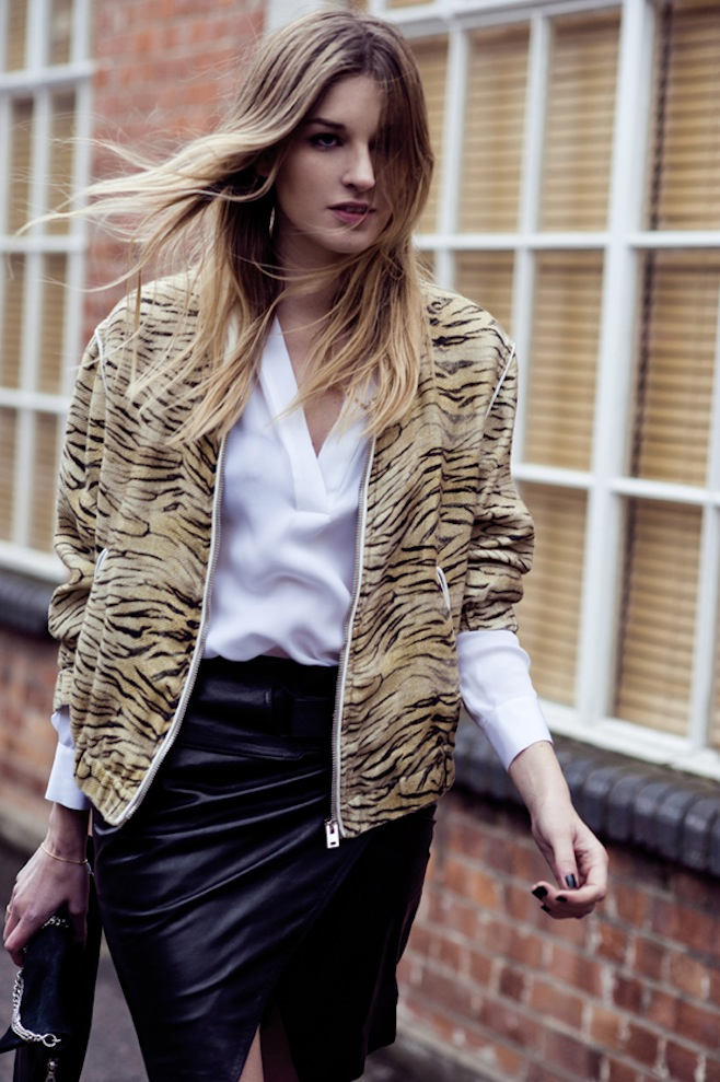 0.Animal Print Bomber Jacket