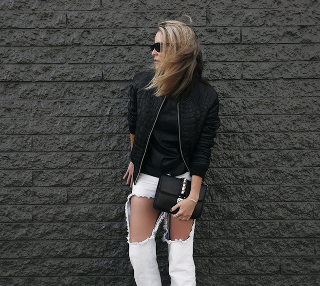 2.Black Bomber Jacket with Jeans