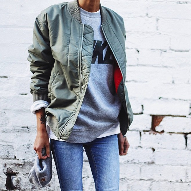 6.Khaki Bomber sweater and jeans