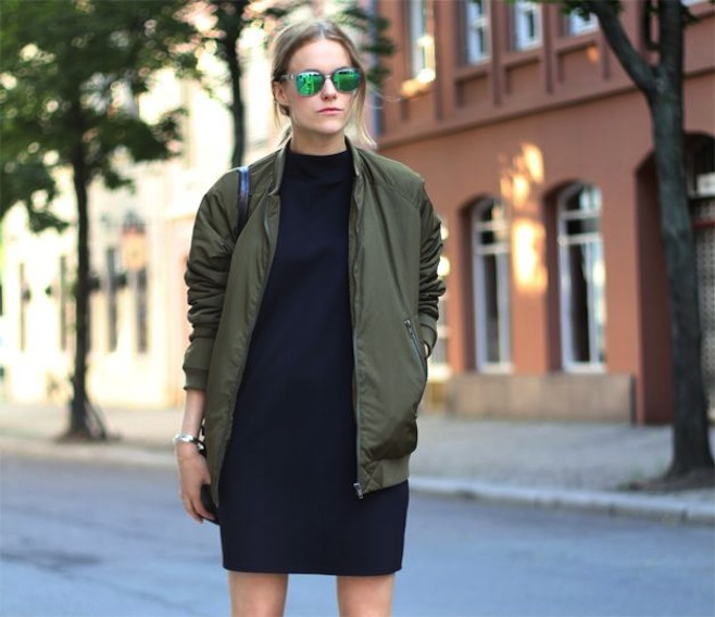 7.Bomber Jacket khaki with sweater dress